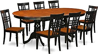 East West Furniture PVLG9-BCH-W 9Piece Table & Chair Set with One Plainville Table & 8 Dining Chairs in Black & Cherry Finish
