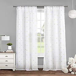 Duck River Textile Lala + Bash Trina Metallic Pole Top Window Curtain Drapes for Bedroom, Livingroom, Kids Room, Children, Nursery-Assorted Colors-Set of 2 Panels, 38 x 84 Inch, White & Gold