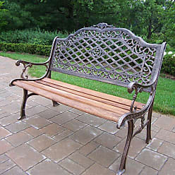 Oakland Living Outdoor Oakland Living Mississippi High Back Cast Iron and Wood Bench in Antique Bronze Finish - 6014-AB
