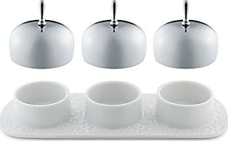 Alessi Dressed Three-Section Jam Tray in Porcelain With Lids in 18/10 Stainless Steel Mirror Polished, White