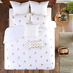 Ink + Ivy Ink+Ivy Stella Dot Duvet Cover King/Cal King Size - White Gold, Embroidered Duvet Cover Set - 3 Piece - Cotton Light Weight Bed Comforter Covers