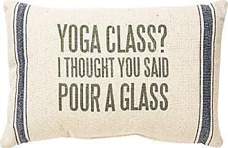 Primitives By Kathy Striped Throw Pillow, feedsack, Yoga Class