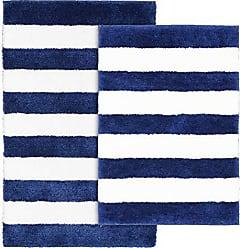 Garland Rug BA300W2P04T9 Beach Stripe Bath Rug Set 2-Piece, Indigo Blue/White