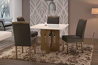 Siena Móveis Conjunto Sala de Jantar em Madeira Maciça Mesa Suécia 4 Cadeiras Priscila Siena Móveis Castanho/Suede 68