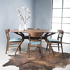 GDF Studio Christopher Knight Home 299308 Isador Mid-Century Design Natural Walnut Finish 5 Piece Dining Set (Mint)