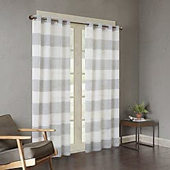 Urban Habitat White Grey Grommet Curtains for Living Room, Mason Striped Window Curtains for Bedroom Family Room, Polyester Semi-Opaque Living Room Curtains, 50X84, 1-Panel Pack