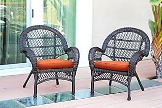Jeco W00208-C_2-FS016-CS Wicker Chair with Orange Cushion, Set of 2, Espresso/W00208