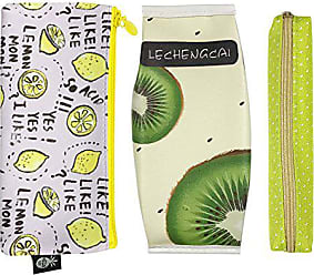Wrapables Trendy Food Pencil Case and Stationery Pouches (Set of 3), Green