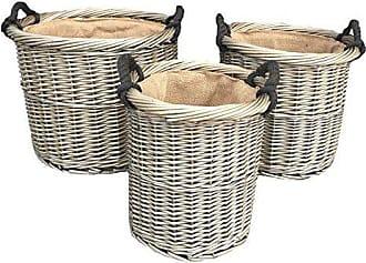 Satz von 2 Tall Round Kamin Grey Rattan Log Basket
