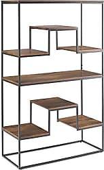 Simpli Home Simpli Home AXCBRY-12 Byron Solid Mango Wood and Metal 61 inch x 39 inch Contemporary Industrial Bookshelf in Light Walnut Brown