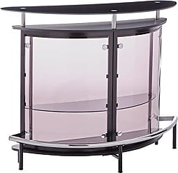 Coaster Bar Unit with Acrylic Front Black, Chrome and Smoke