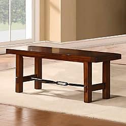 Weston Home Clayton Metal Stretcher Dining Bench - Rustic Oak - 2515-13(MTL)