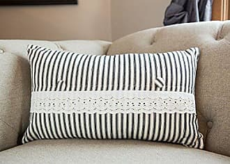 Heritage Lace Vintage Garden Decorative Pillow Cover, 12 x 20, Black/Cream