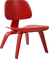 Rivatti Poltrona Cadeira Eames Lounge LCW Wood Vermelha