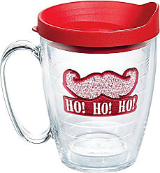 Trevis Tervis 1140766 Santa Confetti Mustache Tumbler with Emblem and Red Lid 16oz Mug, Clear