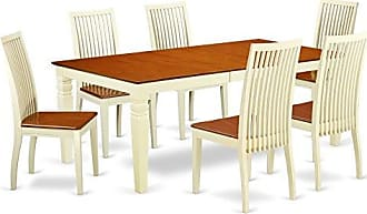 East West Furniture LGIP7-BMK-W 7 Piece Dining Set with One Logan Dinning Table & Six Wood Kitchen Chairs Large Buttermilk & Cherry