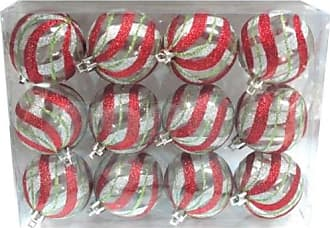 Queens of Christmas WL-ORN-12PK-CL-RSG Clear Ball Ornament with Red, Silver & Gold swirl Design (Pack of 12)