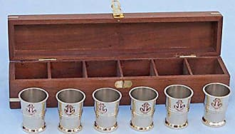 Handcrafted Nautical Decor Hampton Nautical Brass Anchor Shot Glasses with Rosewood (Set of 6)