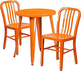 Flash Furniture 24 Round Orange Metal Indoor-Outdoor Table Set with 2 Vertical Slat Back Chairs