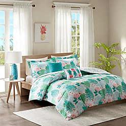 INTELLIGENT DESIGN Tropicana Comforter Set Full/Queen Size - Aqua, Tropical Floral Pineapple Print - 5 Piece Bed Sets - Ultra Soft Microfiber Teen Bedding for Girls Bedroom