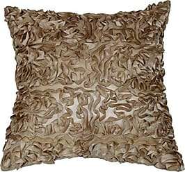 Violet Linen Silky Taffeta Abstract 3D Design Decorative Cushion Cover 17 x 17 Taupe