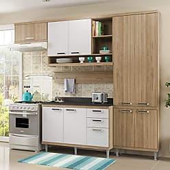 Multimóveis Cozinha Completa com Balcão com Tampo 6 Peças 9 Portas Sicília Multimóveis Argila/Branco