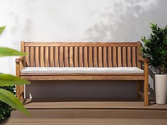 Beliani Auflage Für Gartenbank TOSCANA/JAVA Grau Beiges ZickZack Muster 169  X 50 X