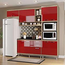 Multimóveis Cozinha Completa com Balcão com Tampo 5 Peças 9 Portas Sicília Multimóveis Argila/Vermelho