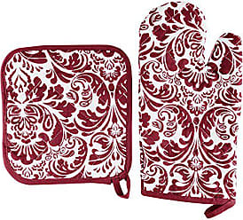 Trademark Global Oven Mitt And Pot Holder Set, Quilted And Flame And Heat Resistant By Lavish Home (Burgundy)