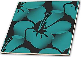 4 3dRose ct/_151455/_1 Royal Blue and White Damask Pattern Stylish Elegant Victorian Vintage French Floral Swirls Navy Ceramic Tile