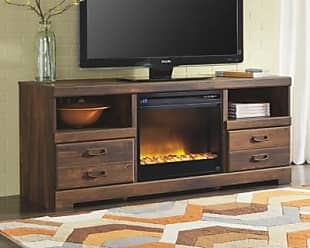 Ashley Furniture Quinden 64 TV Stand with Electric Fireplace, Dark Brown
