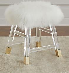 Interlude Home Darnell Acrylic and Sheepskin Stool