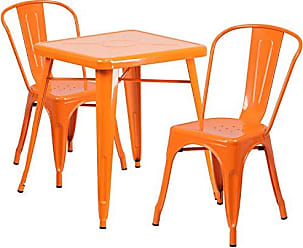 Flash Furniture 23.75 Square Orange Metal Indoor-Outdoor Table Set with 2 Stack Chairs
