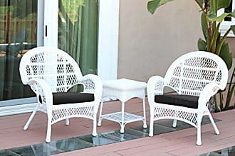 Jeco W00209-C_2-CES017 3 Piece Santa Maria Wicker Chair Set with Black Cushions, White