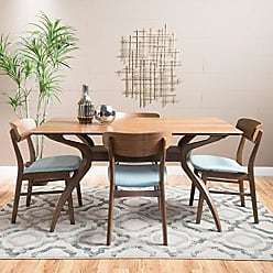 GDF Studio Christopher Knight Home 299314 Leona Mid-Century Natural Walnut Finish 5 Piece Dining Set (Mint)