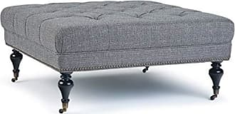 Simpli Home Simpli Home AXCOT-287-PGR Marcus 42 inch Wide Traditional Square Table Ottoman in Pebble Grey Tweed Fabric