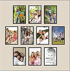 Art to Frames Art to Frames Double-Multimat-1021-844/89-FRBW26079 Collage Photo Frame Double Mat with 10 - 5x7 Openings and Satin Black Frame