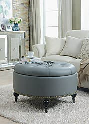 Iconic Home FON2598-AN Grey Mona PU Button Tufted with Gold Nail Head Trim Castered Legs Round Ottoman