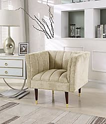 Iconic Home Agatha Accent Club Chair Clam Shell Linen-Textured Upholstery Espresso Finished Gold Tip Wood Legs, Modern Transitional, Gold