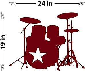 The Decal Guru Star Drummer Wall Decal (Burgundy, 19 (H) X 24 (W))