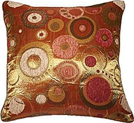 Violet Linen Chenille Candy 18 X 18 Decorative Cushion Cover - Brass