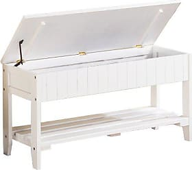 Round Hill Furniture Quality Solid Wood Shoe Bench with Storage, White