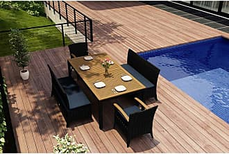 Harmonia Living Outdoor Harmonia Living Arbor Teak 5 Piece Rectangular Patio Dining Set - HL-AR-CB-5BDS-IN