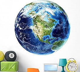Wallmonkeys 3D Rendering Planet Earth Wall Decal by Wallmonkeys Peel and Stick Graphic (48 in W x 48 in H) WM250517