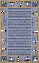 Kas Rugs KAS Oriental Rugs Colonial Collection Lighthouse Waves Area Rug, 53 x 83, Blue
