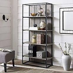 Walker Edison WE Furniture AZS64FHPWGW Bookcase, 64, Grey Wash/Black Metal