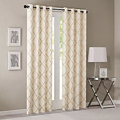 Madison Park Saratoga Room-Darkening Curtain Fretwork Print 1 Window Panel with Grommet Top Blackout Drapes for Bedroom and Dorm, 50x84, Beige/Gold