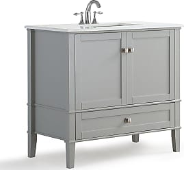 Simpli Home Chelsea 36 inch Bath Vanity in Warm Grey with White Engineered Quartz Marble Top