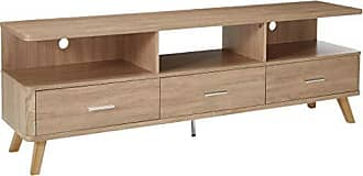 Major-Q Modern Rustic Natural Finish 3-Drawer Wooden TV Stand with 3 Open Compartments, 9091282