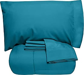 Sweet Home Collection 7 Piece Comforter Set Bag Solid Color All Season Soft Down Alternative Blanket & Luxurious Microfiber Bed Sheets, Full, Teal